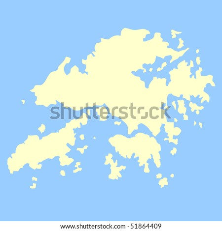 Map of Hong Kong isolated on a blue background. - stock photo