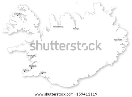 Map of Iceland with main cities on white. Projected in WGS 84 World Mercator (EPSG:3395) coordinate system. - stock photo
