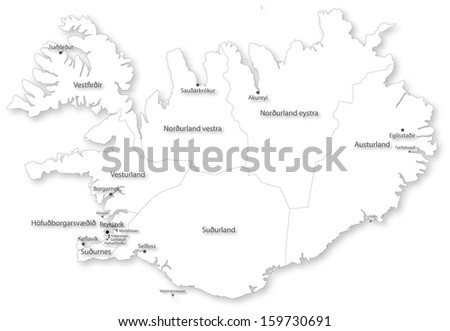 Map of Iceland with regions and cities on white. Projected in WGS 84 World Mercator (EPSG:3395) coordinate system. - stock photo