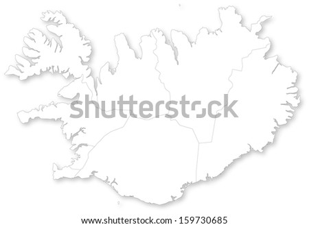 Map of Iceland with regions with shadow.  Projected in WGS 84 World Mercator (EPSG:3395) coordinate system. - stock photo