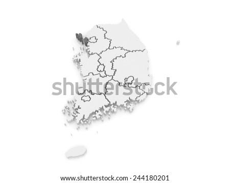 Map of Incheon. South Korea. 3d - stock photo