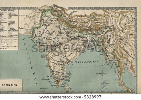 Map of India 1867 - stock photo