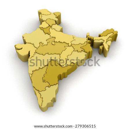 Map of India. Image with clipping path. - stock photo