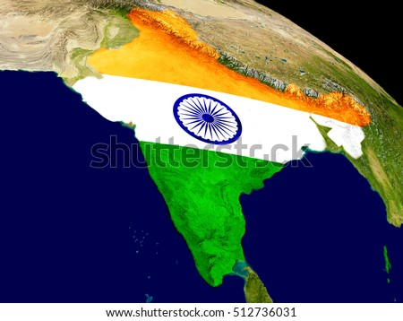 Map of India with embedded flag on planet surface. 3D illustration. Elements of this image furnished by NASA.