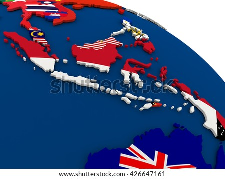 Map of Indonesia on globe with embedded flags of countries. 3D illustration.