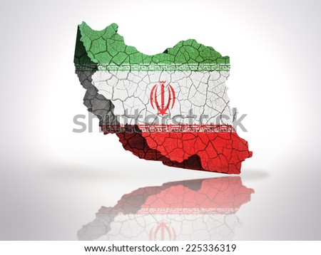 Map of Iran with Iranian Flag on a white background - stock photo