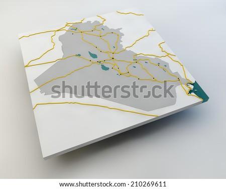 Map of Iraq, the Iraqi state, boundaries, roads and cities - stock photo