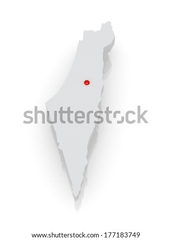 Map of Israel. 3d - stock photo