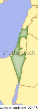 Map of Israel, with borders of surrounding countries. - stock photo