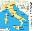 map of Italy. - stock photo