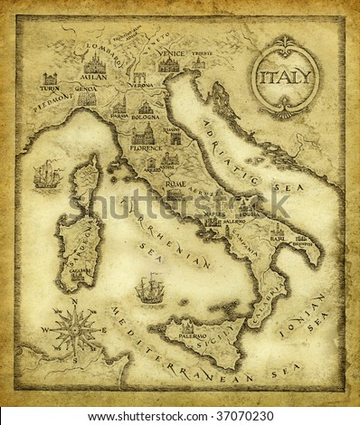 Map of Italy, drawn with ink on paper. - stock photo
