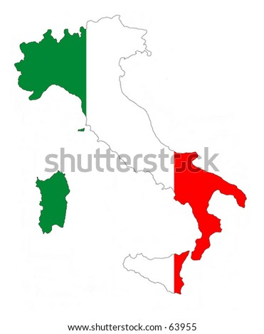 Map of Italy filled with its flag