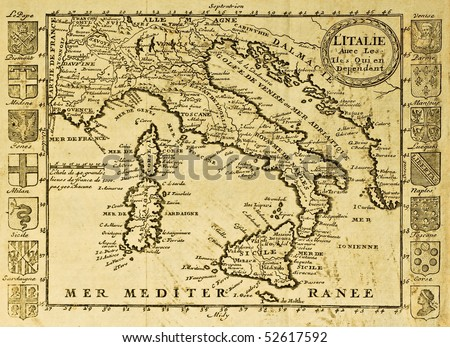 Map of Italy framed by territorial crests. May be dated to the beginning of XVIII sec. - stock photo