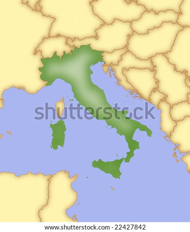 Map Italy Borders Surrounding Countries Stock Illustration 22427842 ...