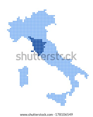 Map of Italy with stylized map of Tuscany made from blue dots