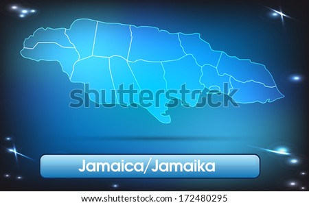 Map of Jamaica with borders with bright colors - stock photo
