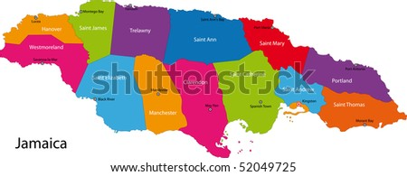 Map of Jamaica with the parishes colored in bright colors and the capital cities - stock photo