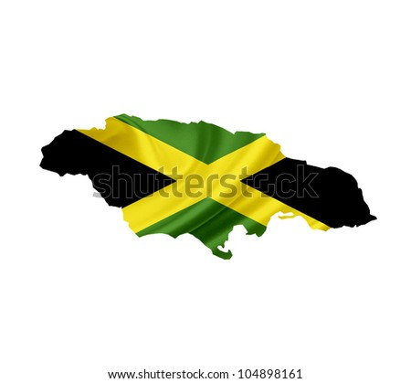 Map of Jamaica with waving flag isolated on white - stock photo