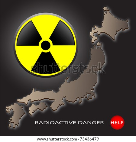 Map of Japan and a sign on radioactive danger on a dark background - stock photo