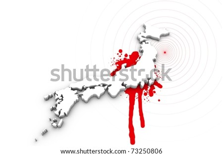 Map of Japan bleeding. Japan earthquake disaster 2011. - stock photo