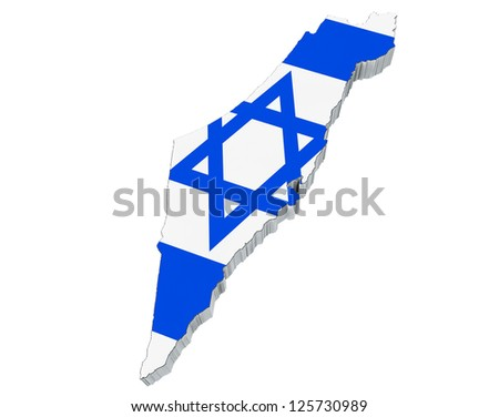 Map of Japan in Israel flag colors on a white background - stock photo