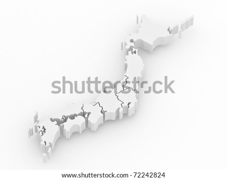 Map of Japan on white isolated background. 3d - stock photo