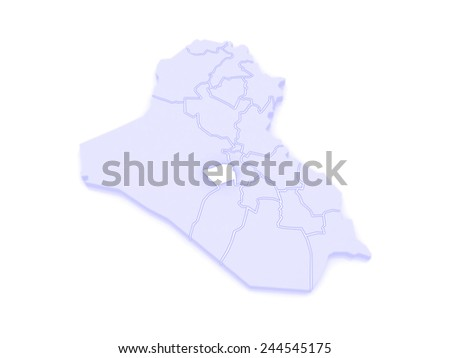 Map of Karbala. Iraq. 3d - stock photo