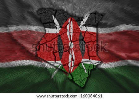 Map of Kenya in National flag colors - stock photo