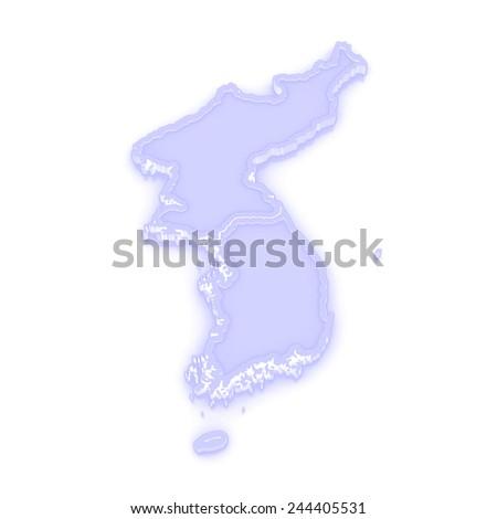 Map of Korea. 3d - stock photo