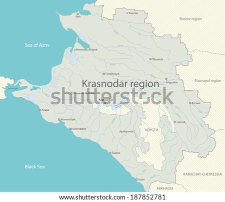 Map Krasnodar Region Stock Illustration 187852781 Shutterstock