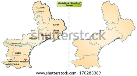 Map of Languedoc-Roussillon with borders in pastel orange - stock photo