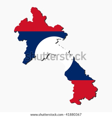 map of laos and Laotian flag illustration JPEG