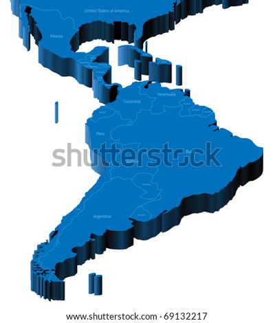 Map of Latin America with national borders and country names. Raster version. Vector version is also available. - stock photo