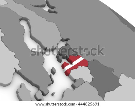 Map of Latvia with embedded national flag. 3D illustration - stock photo