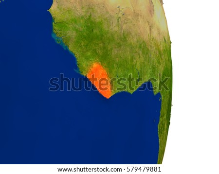 Map of Liberia in red on planet Earth. 3D illustration with detailed planet surface. Elements of this image furnished by NASA.