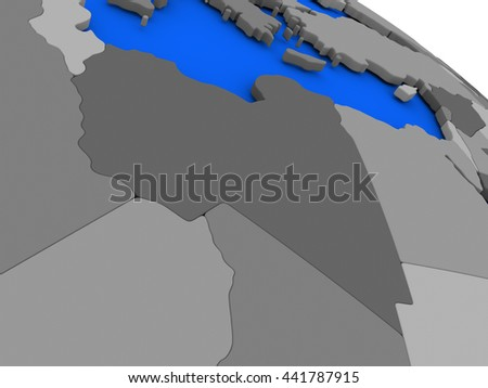 Map of Libya on 3D model of Earth with countries in various shades of grey and blue oceans. 3D illustration