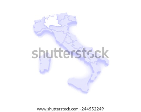 Map of Lombardy. Italy. 3d - stock photo