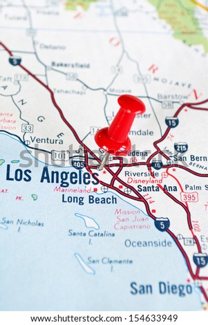 Map of Los Angeles, CA, with Red Push Pin - stock photo
