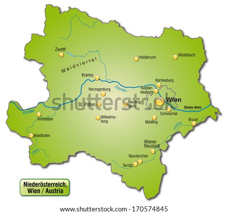 Map of Lower Austria as an overview map in green