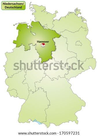 Map of Lower Saxony with main cities in green