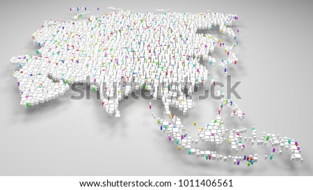 Map of Malaysia - Asia | 3d Rendering, fall down of little bricks - White and Flag colors