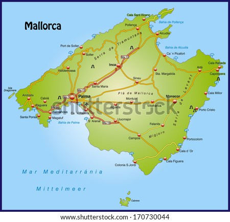 Map Mallorca Highways Stock Illustration 170730044 Shutterstock