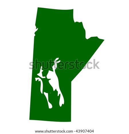 Map of Manitoba province or territory in Canada, isolated on white background. - stock photo