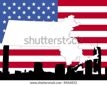 map of Massachusetts on American flag with Boston skyline JPG - stock photo
