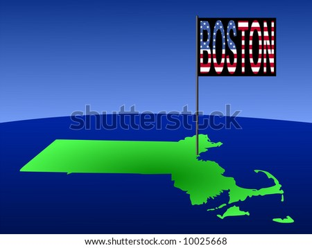 Map of Massachusetts with position of Boston marked by flag pole illustration JPG - stock photo