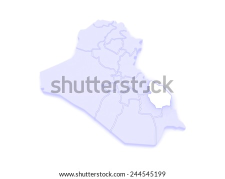 Map of Maysan. Iraq. 3d - stock photo
