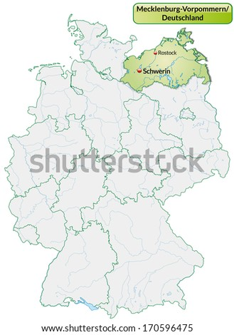 Map of Mecklenburg-Western Pomerania with main cities in pastel green