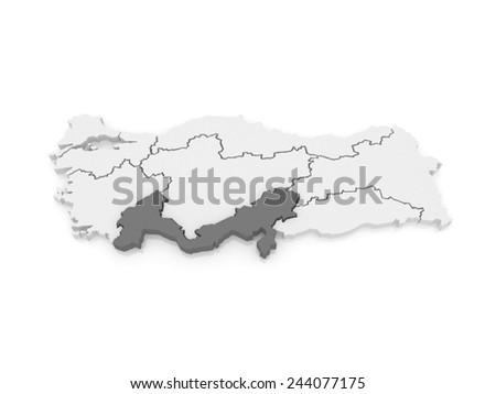 Map of Mediterranean region. Turkey. 3d - stock photo