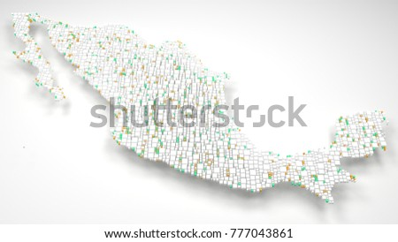 Map of Mexico - America | 3d Rendering: Fall down of little bricks - Flag colors