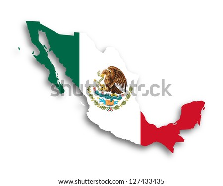 Map of Mexico filled with flag, isolated - stock photo